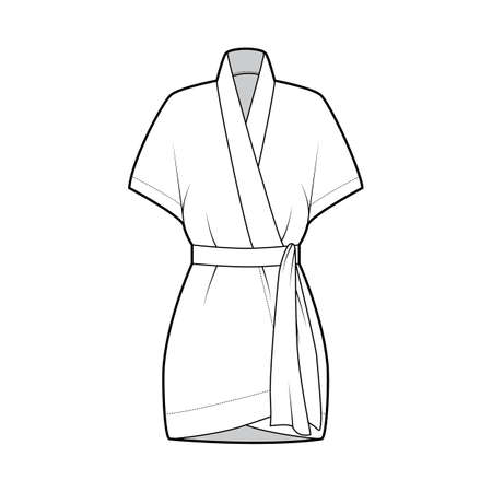 Kimono technical fashion illustration with relaxed fit, short batwing sleeves, belt to cinch the waist, above-the-knee length. Flat apparel blouse template front, white color. Women men unisex shirt