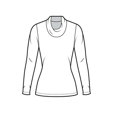 Cowl turtleneck jersey sweater technical fashion illustration with long sleeves, close shape, tunic length. Flat outwear apparel template front white color. Women men unisex shirt top CAD mockup