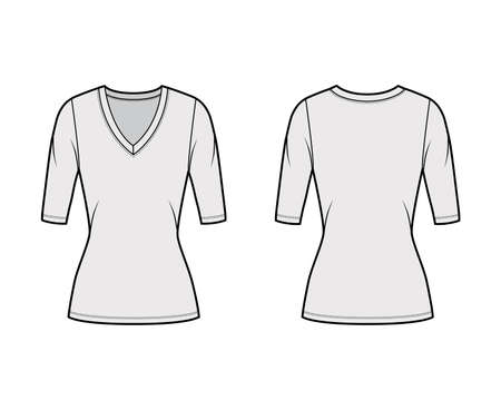 Deep V-neck jersey sweater technical fashion illustration with elbow sleeves, close-fitting shape, tunic length. Flat shirt apparel template front back grey color. Women men unisex top CAD mockup