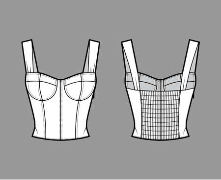 Jewel cropped shirred corset-style smocked top technical fashion illustration with molded cups, close fit, shirred back. Flat apparel template front, back, white color. Women, men, unisex shirt mockup Ilustracje wektorowe