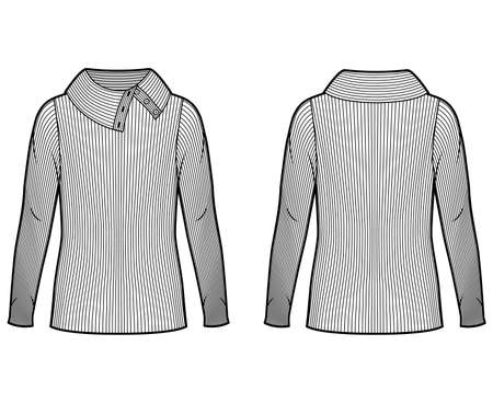 Wide button-up turtleneck ribbed-knit sweater technical fashion illustration with long sleeves, oversized tunic length. Flat sweater apparel template front back white color. Women men unisex shirt top Illustration