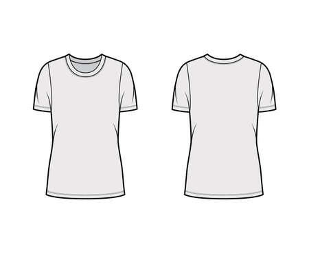 Crew neck jersey t-shirt technical fashion illustration with short sleeves, oversized body, tunic length. Flat sweater apparel template front back grey color. Women men unisex outfit top CAD mockup