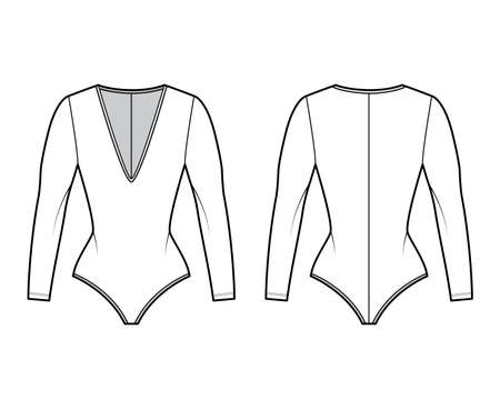 Stretch-jersey bodysuit technical fashion illustration with plunging V-neckline, sculpting fit, long sleeves. Flat one-piece apparel template front back white color. Women men unisex swimsuit CAD. Illustration