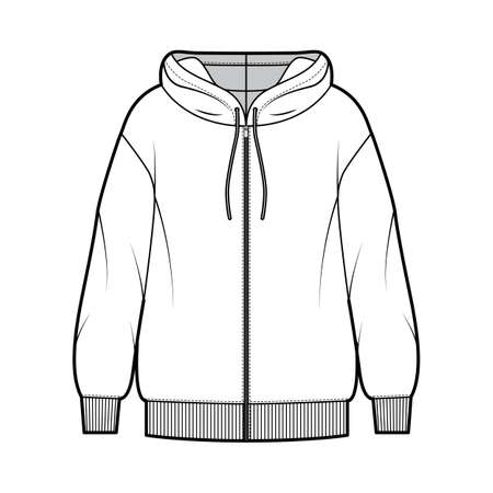 Zip-up oversized cotton-fleece hoodie technical fashion illustration with relaxed fit, long sleeves. Flat outwear jumper apparel template front, white color. Women, men, unisex sweatshirt top mockup