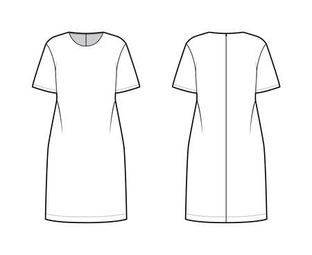 Oversized tunic technical fashion illustration with round neck, elbow sleeves, back zip fastening, below-the-knee length. Flat apparel blouse template front, back white color. Women men unisex shirt