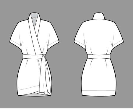 Kimono technical fashion illustration with short batwing sleeves, belt to cinch the waist, above-the-knee length. Flat apparel blouse template front back white color. Women men unisex shirt CAD mockup