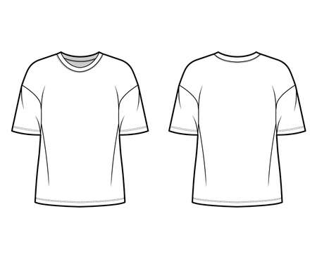 Cotton-jersey t-shirt technical fashion illustration with crew neckline, elbow sleeves, dropped shoulders. Flat outwear basic apparel template front, back, white color. Women men unisex top CAD mockup
