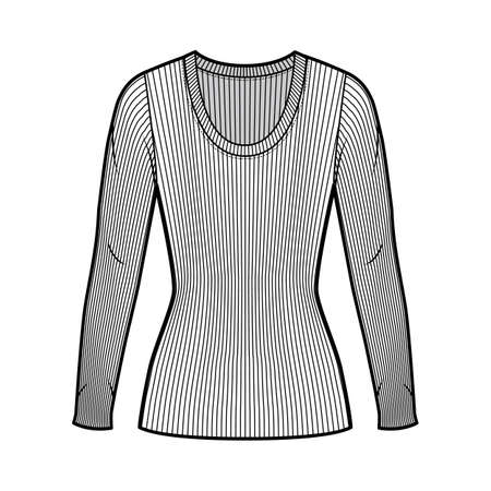 Ribbed scoop neck knit sweater technical fashion illustration with long sleeves, close-fitting shape tunic length. Flat outwear apparel template front white color. Women men unisex shirt top mockup