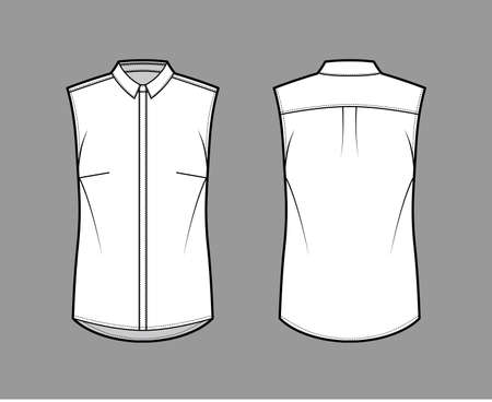 Shirt technical fashion illustration with neat, slim collar, front concealed button fastenings, slightly loose silhouette. Flat apparel template front, back, white color. Women, men unisex top mockup 向量圖像