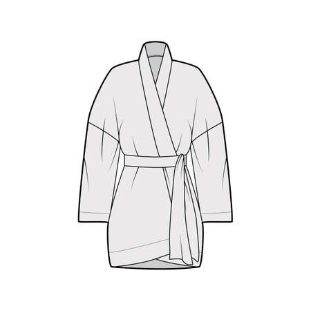 Kimono technical fashion illustration with relaxed fit, long wide sleeves, belt to cinch the waist, above-the-knee length. Flat apparel blouse template front, grey color. Women men unisex shirt mockup 向量圖像