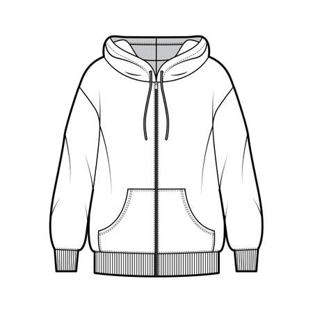 Zip-up oversized cotton-fleece hoodie technical fashion illustration with pocket, relaxed fit, long sleeves. Flat jumper apparel template front, white color. Women, men, unisex sweatshirt top CAD Vetores