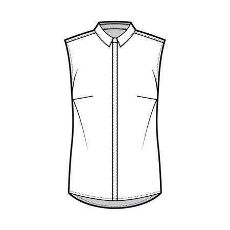 Shirt technical fashion illustration with neat, slim collar, front concealed button fastenings, slightly loose silhouette. Flat apparel template front, white color. Women, men unisex top CAD mockup