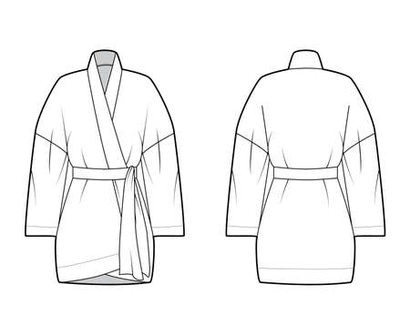 Kimono technical fashion illustration with relaxed fit, long wide sleeves, belt to cinch the waist, above-the-knee length. Flat apparel blouse template front, back white color. Women men unisex shirt