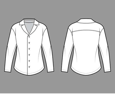 Shirt technical fashion illustration with relaxed silhouette, retro camp collar, back round yoke, front button fastenings, long sleeves. Flat apparel template front back white color. Women men unisex