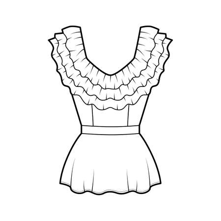 Peplum blouse technical fashion illustration with 3 layers of ruffles along the diamond neckline, back zip fastening. Flat apparel shirt template front, white color. Women men unisex top CAD mockup