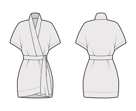 Kimono technical fashion illustration with short batwing sleeves, belt to cinch the waist, above-the-knee length. Flat apparel blouse template front, back grey color. Women men unisex shirt CAD mockup