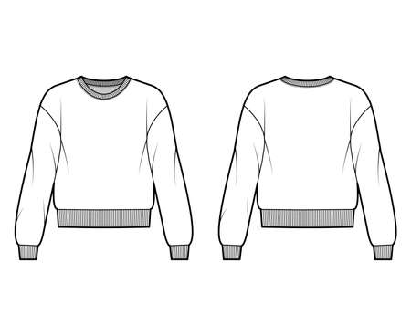 Cotton-terry sweatshirt technical fashion illustration with relaxed fit, crew neckline, long sleeves. Flat outwear jumper apparel template front, back, white color. Women, men, unisex top CAD mockup Vetores