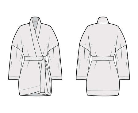 Kimono technical fashion illustration with relaxed fit, long wide sleeves, belt to cinch the waist, above-the-knee length. Flat apparel blouse template front, back grey color. Women men unisex shirt