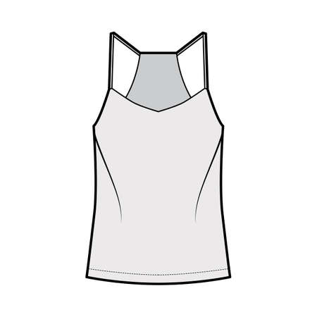Racer-back camisole technical fashion illustration with V-neck, straps, relaxed fit, tunic length. Flat outwear tank apparel template front, grey color. Women, men unisex shirt top CAD mockup Illustration