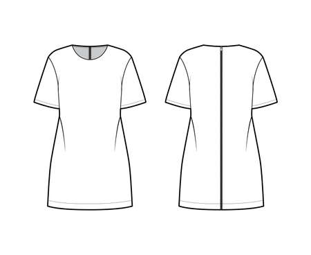 Back zip-up oversized dress technical fashion illustration with round neck, elbow sleeves, above-the-knee length. Flat apparel tunic template front, back, white color. Women, men, unisex CAD mockup