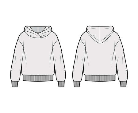 Oversized cotton-fleece hoodie technical fashion illustration with relaxed fit, long sleeves. Flat outwear jumper apparel template front, back, grey color. Women, men, unisex sweatshirt top CAD mockup