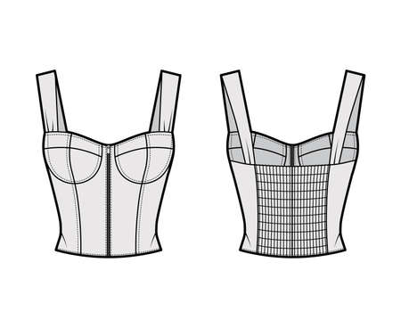 Zip-up jewel cropped shirred corset-style smocked top technical fashion illustration with molded cups, close fit, shirred back. Flat apparel template front, back, grey color. Women, men, unisex shirt