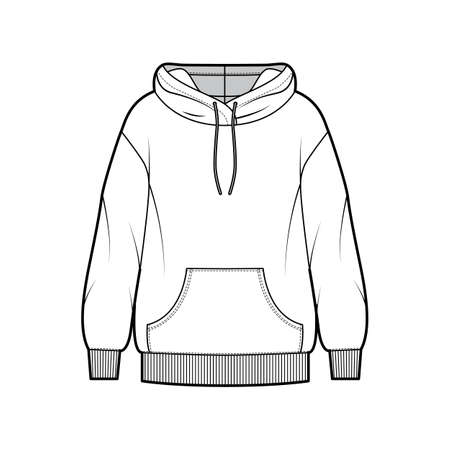 Oversized cotton-fleece hoodie technical fashion illustration with pocket, relaxed fit, long sleeves. Flat outwear jumper apparel template front, white color. Women, men, unisex sweatshirt top CAD