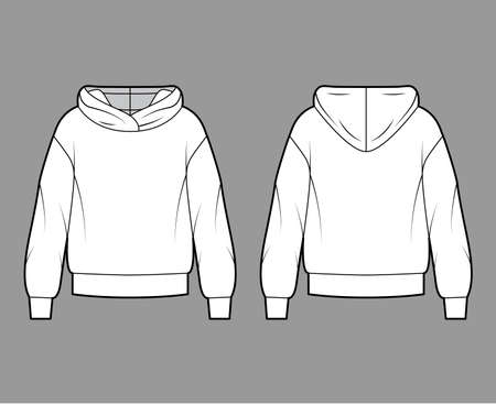 Oversized cotton-fleece hoodie technical fashion illustration with relaxed fit, long sleeves. Flat outwear jumper apparel template front, back white color. Women, men, unisex sweatshirt top CAD mockup