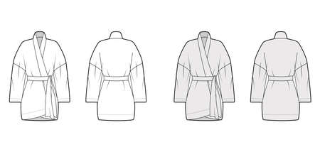 Kimono technical fashion illustration with long wide sleeves, belt to cinch the waist, above-the-knee length. Flat apparel blouse template front, back white grey color. Women men unisex shirt mockup