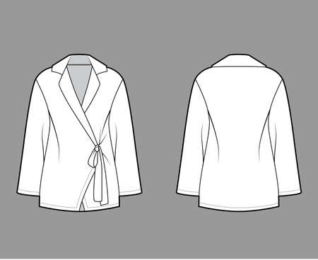 Wrap shirt technical fashion illustration with long sleeves, slightly loose fit, notch collar, ties at the waist. Flat apparel blouse template front, back white color. Women men unisex blazer mockup