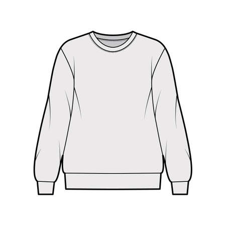 Cotton-terry oversized sweatshirt technical fashion illustration with relaxed fit, crew neckline, long sleeves. Flat outwear jumper apparel template front, grey color. Women, men, unisex top CAD Vector Illustration
