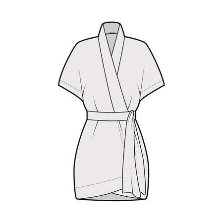 Kimono technical fashion illustration with relaxed fit, short batwing sleeves, belt to cinch the waist, above-the-knee length. Flat apparel blouse template front grey color. Women men unisex shirt CAD