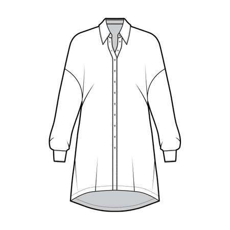 Oversized blouse technical fashion illustration with basic shirt collar, dropped shoulders, long sleeves, above-the-knee length. Flat apparel template front, white color. Women men unisex top mockup Vector Illustration
