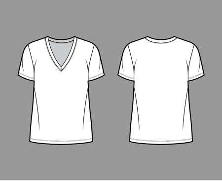 Cotton-jersey t-shirt technical fashion illustration with deep V-neck, short sleeves, tunic length, oversized. Flat outwear basic apparel template front, back, white color. Women men unisex top mockup