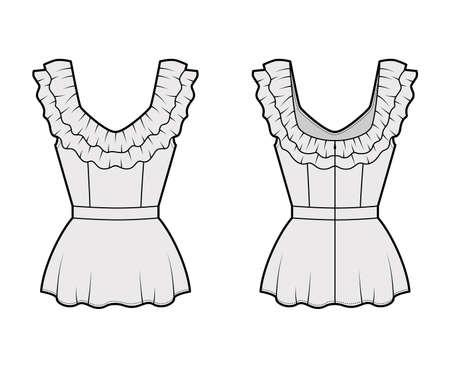 Peplum blouse technical fashion illustration with 2 layers of ruffles along the diamond neckline, back zip fastening. Flat apparel shirt template front back grey color. Women men unisex top CAD mockup Vecteurs
