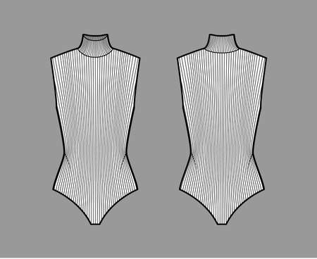 Ribbed cotton-jersey turtleneck bodysuit technical fashion illustration with fitted knit body, sleeveless. Flat outwear shirt apparel template front, back, white color. Women men unisex top CAD mockup