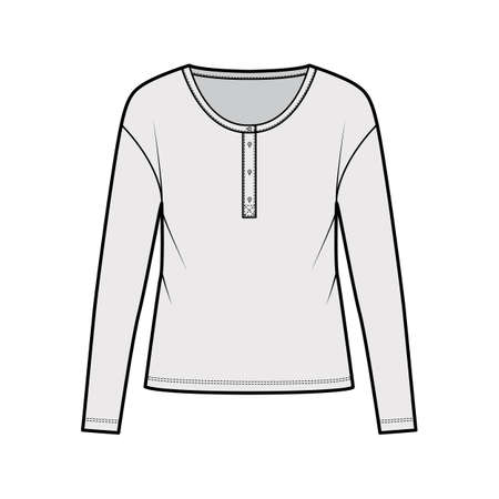 Classic mens style cotton-jersey top technical fashion illustration with long sleeves, scoop henley neckline. Flat outwear apparel shirt template front, grey color. Women, men, unisex CAD mockup