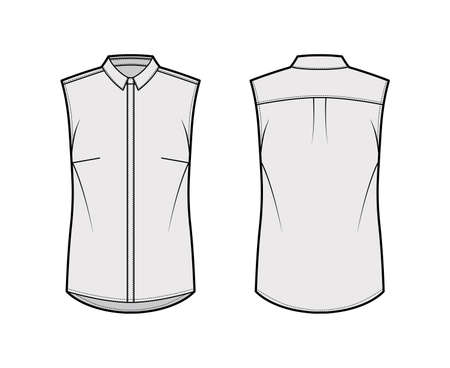 Shirt technical fashion illustration with neat, slim collar, front concealed button fastenings, slightly loose silhouette. Flat apparel template front, back grey color. Women men unisex top CAD mockup