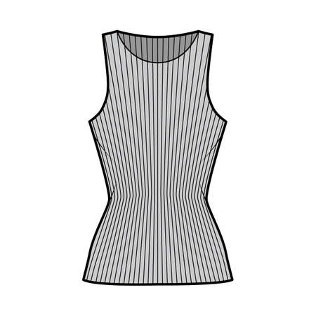 Ribbed cotton-jersey tank technical fashion illustration with slim fit, elongated hem, crew neckline. Flat outwear top apparel template front grey color. Women, men unisex shirt knit CAD mockup Vettoriali