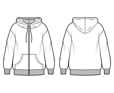 Zip-up oversized cotton-fleece hoodie technical fashion illustration with pocket, relaxed fit, long sleeves. Flat jumper apparel template front, back white color. Women, men, unisex sweatshirt top CAD