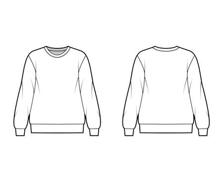 Cotton-terry oversized sweatshirt technical fashion illustration with relaxed fit, crew neckline, long sleeves. Flat outwear jumper apparel template front, back, white color. Women men, unisex top CAD Vetores