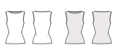 Cotton-jersey tank technical fashion illustration with slim fit, wide boat neckline, elongated hem. Flat outwear shirt apparel template front, back white grey color. Women men unisex top CAD mockup Vettoriali