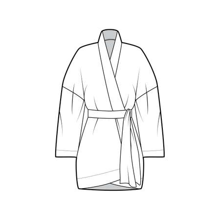Kimono technical fashion illustration with relaxed fit, long wide sleeves, belt to cinch the waist, above-the-knee length. Flat apparel blouse template front, white color. Women men unisex shirt CAD
