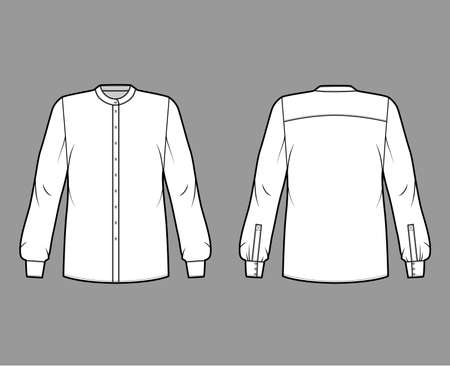 Shirt technical fashion illustration with rounded mandarin collar, long sleeves with cuff, oversized body, back round yoke. Flat apparel top template front, back white color. Women men unisex blouse