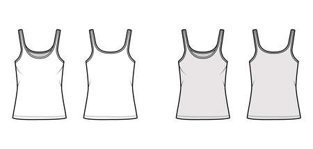 Cotton-jersey tank technical fashion illustration with scoop neck, relaxed fit, tunic length. Flat outwear basic camisole apparel template front back white grey color. Women men unisex shirt top CAD