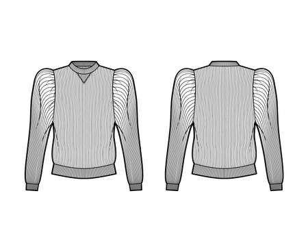 Ribbed cotton-jersey sweatshirt technical fashion illustration with gathered, puffy long sleeves, relaxed fit. Flat jumper apparel template front back white color. Women men unisex top knit CAD mockup