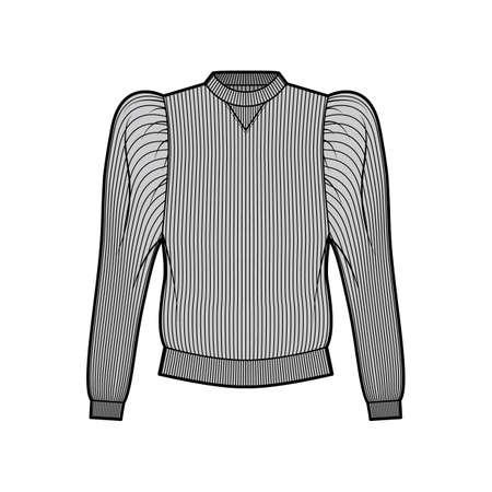 Ribbed cotton-jersey sweatshirt technical fashion illustration with gathered, puffy long sleeves, relaxed fit. Flat jumper apparel template front, grey color. Women men unisex top knit CAD mockup