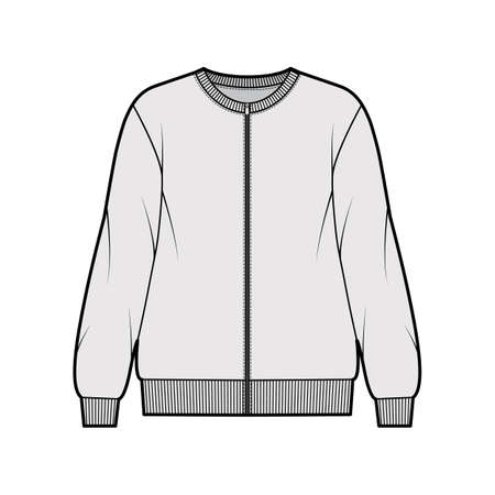 Zip-up cotton-terry oversized sweatshirt technical fashion illustration with relaxed fit, crew neckline, long sleeves. Flat jumper apparel template front grey color. Women, men, unisex top CAD mockup Vektorové ilustrace
