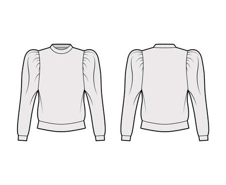 Cotton-jersey sweatshirt technical fashion illustration with relaxed fit, crew neckline, gathered, puffy long sleeves. Flat jumper apparel template front, back grey color. Women, men, unisex top CAD