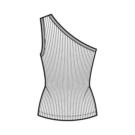 One-shoulder ribbed stretch-jersey tank technical fashion illustration with slim fit, tunic length. Flat outwear cami top apparel template front, white color. Women, men unisex shirt knit CAD mockup